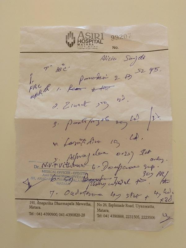 Receta medica Sri Lanka